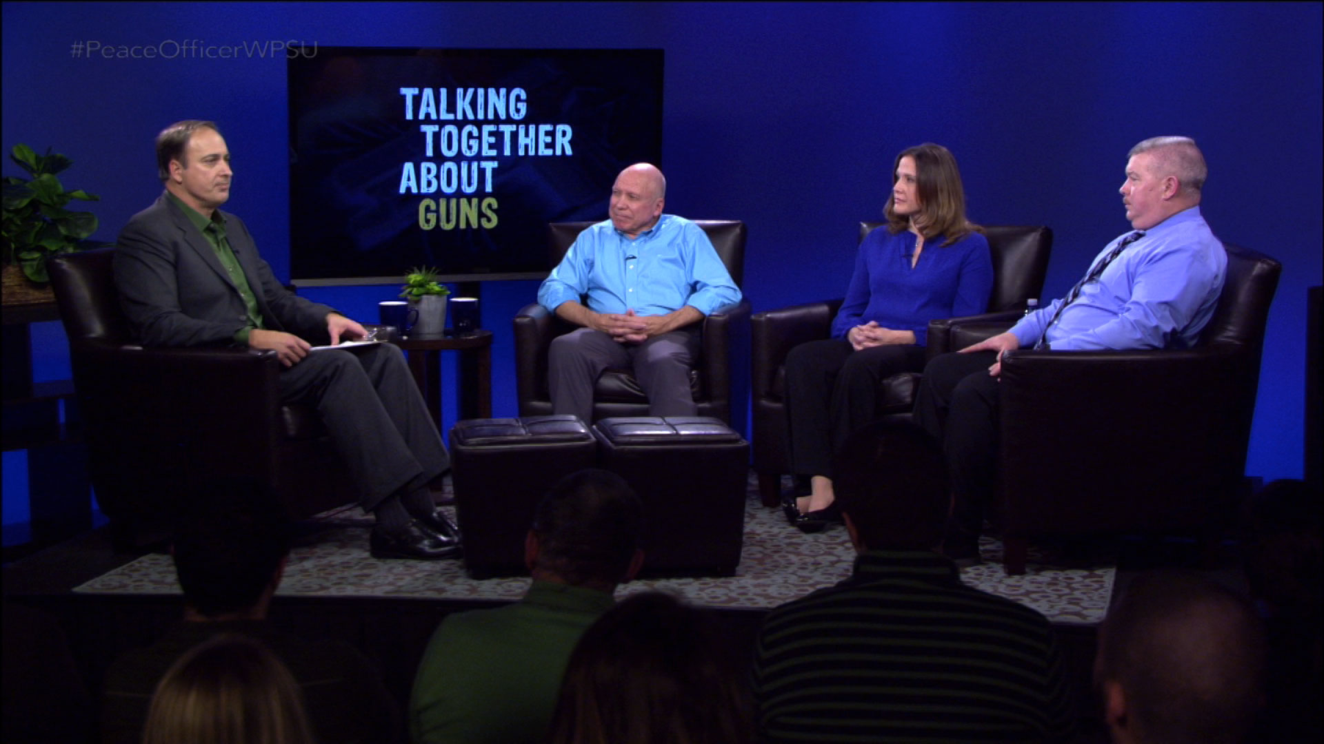 Discussion panel on the set of Talking Together About Guns: Peace Officer