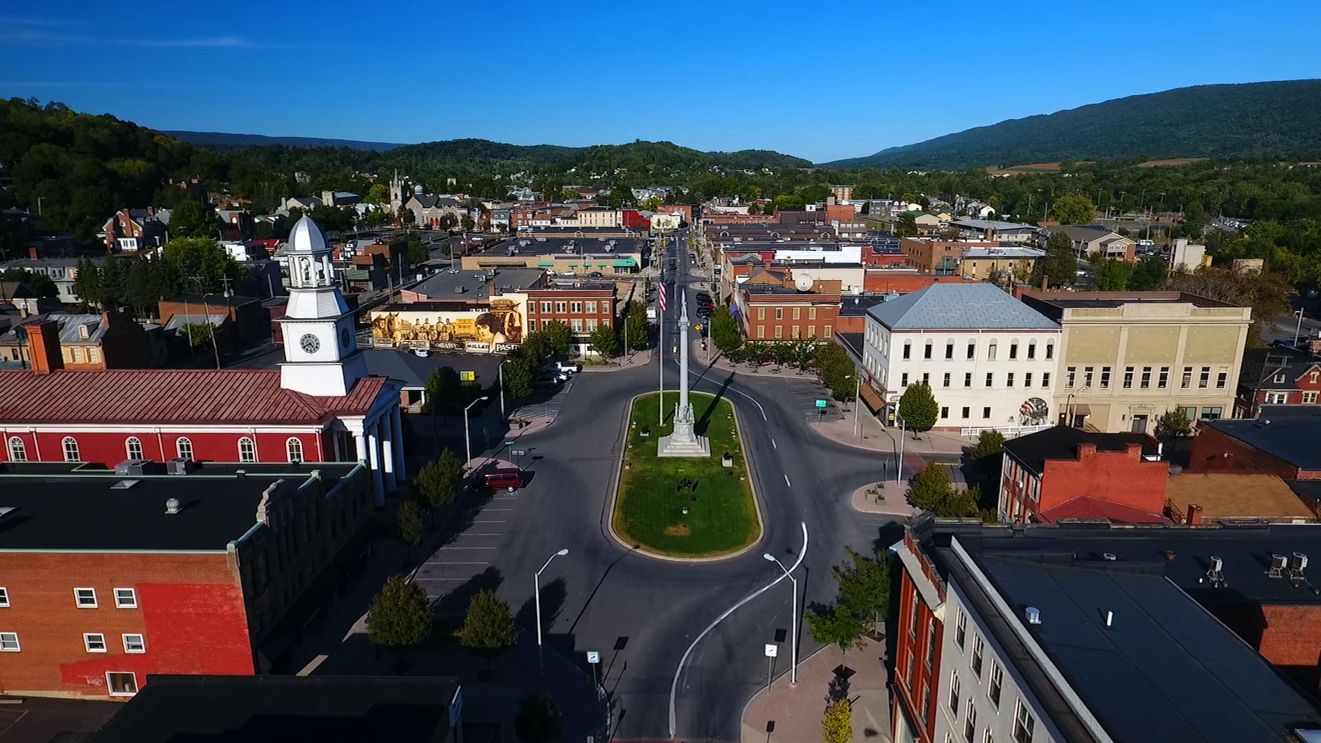 Aerial view of Lewistown, PA