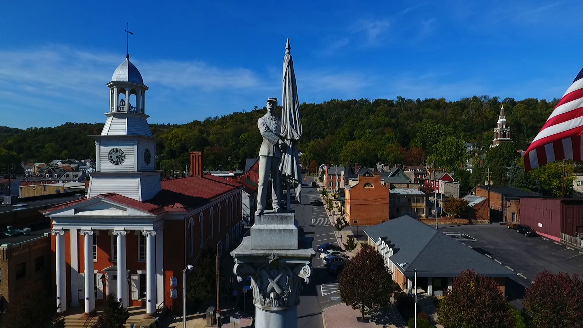 Aerial footage of Lewistown, PA
