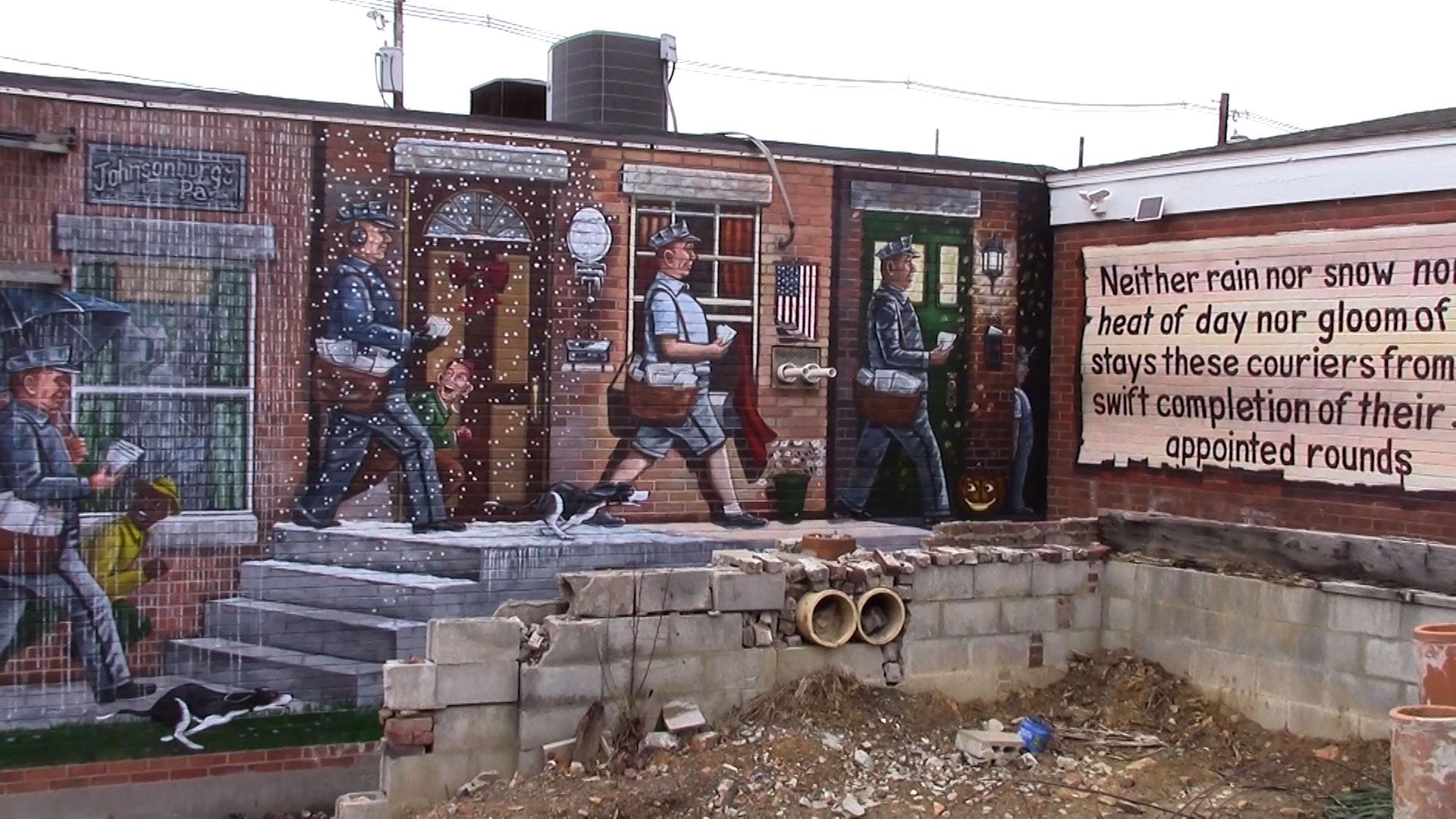 Mural on VFW building in downtown Johnsonburg