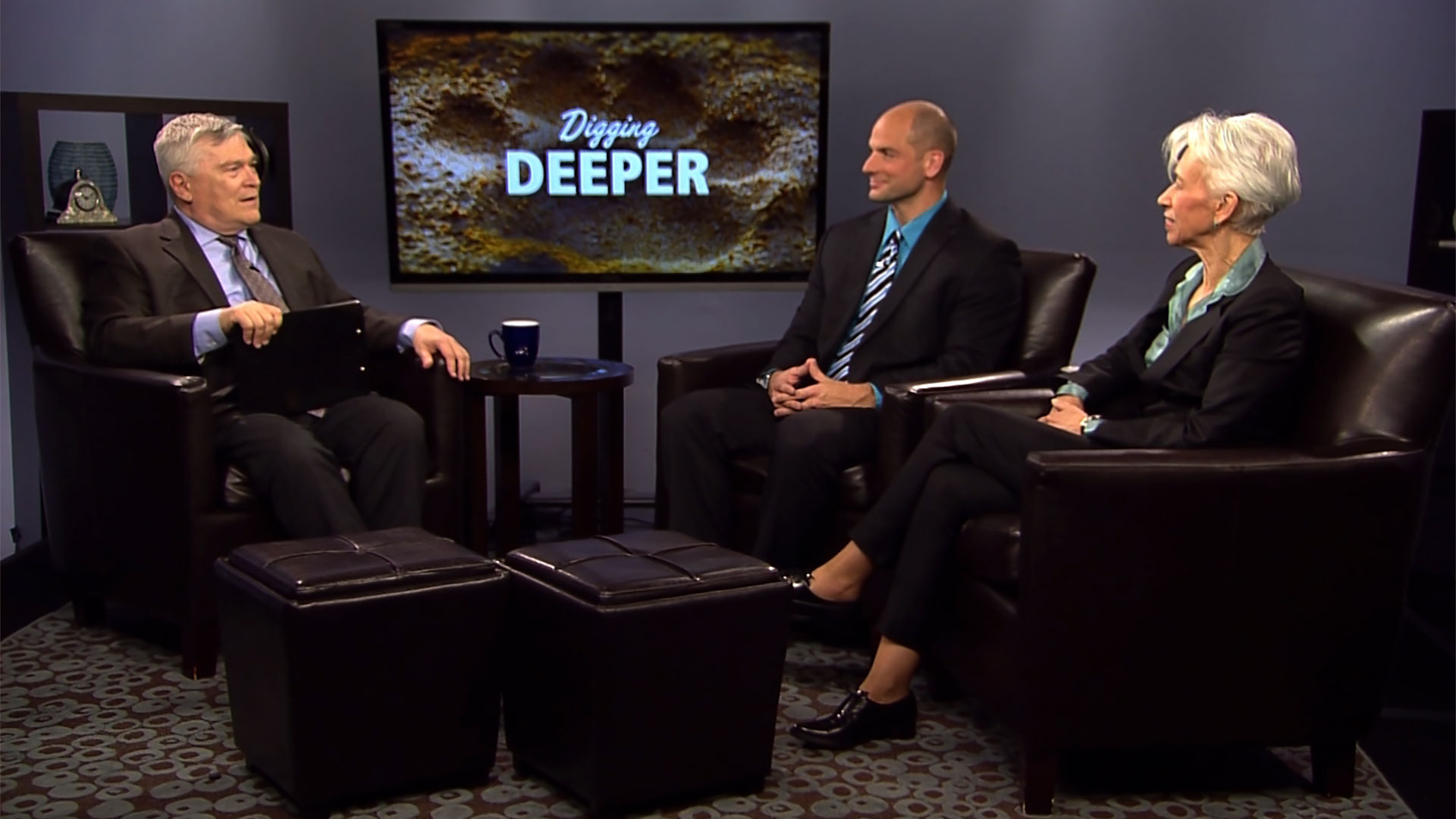 Eric Barron and guests on the set of Digging Deeper