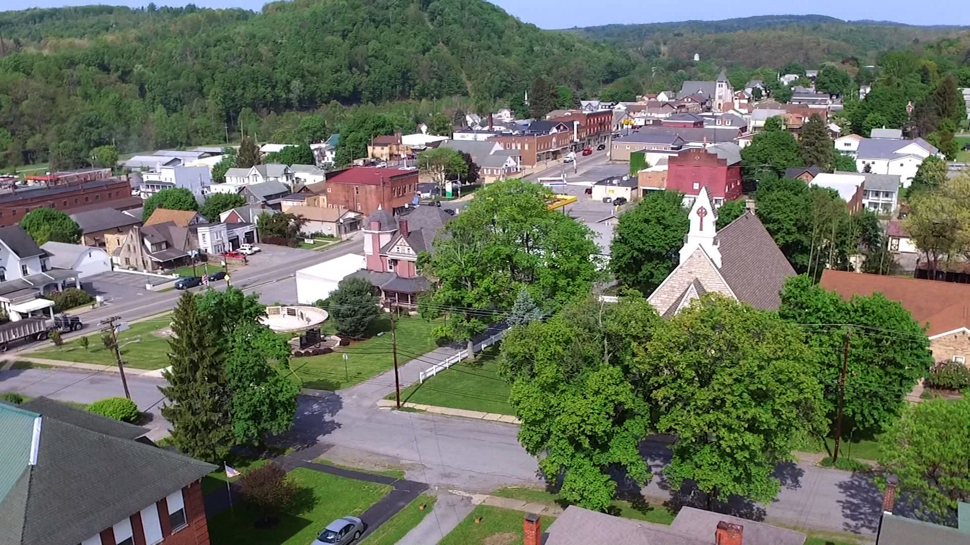 Aerial view of community in Curwensville, PA