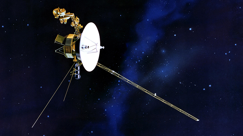 This artist concept of NASA Voyager spacecraft with its antenna pointing to Earth.