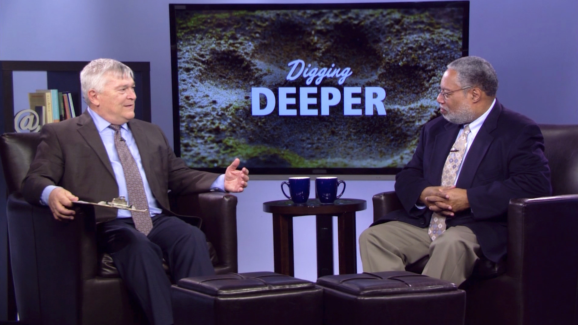 Eric Barron and Lonnie G. Bunch, III on the set of Digging Deeper