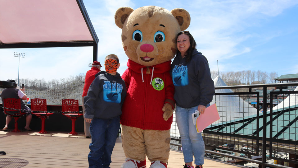 Daniel Tiger with guests at Atloona Curve game