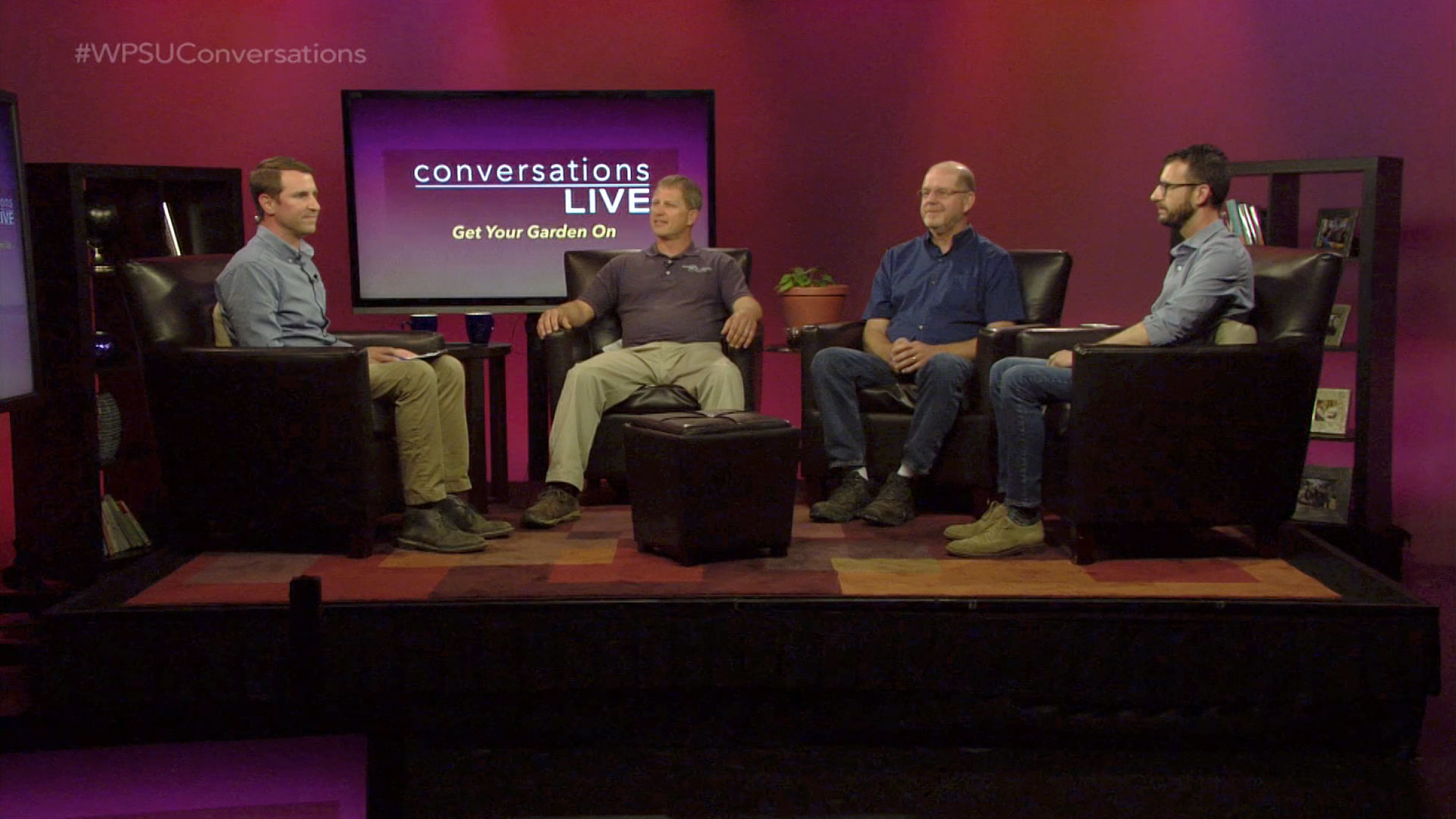 Host Bill Hallman and guests on the set of Conversations Live