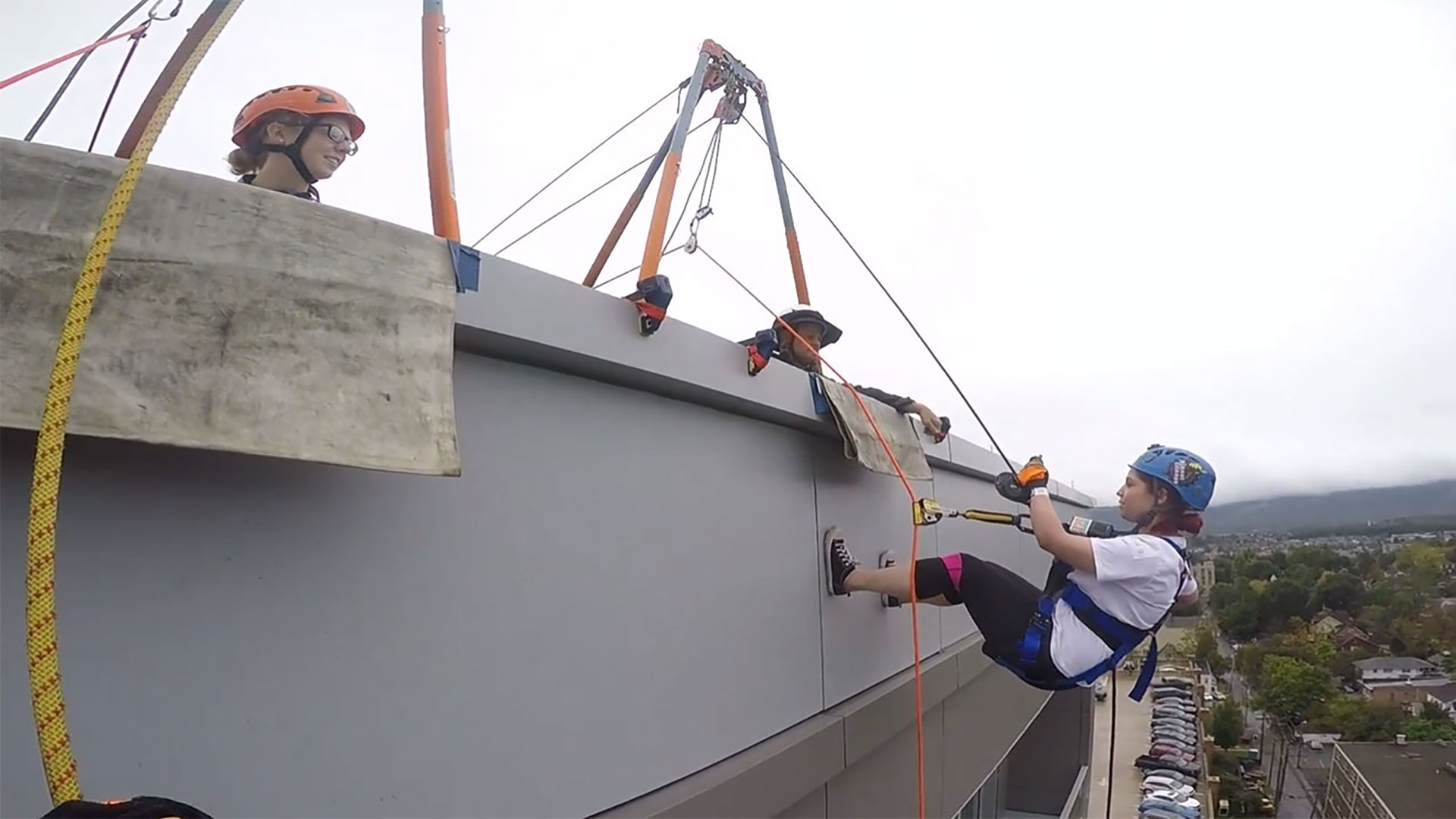 rappelling of a building
