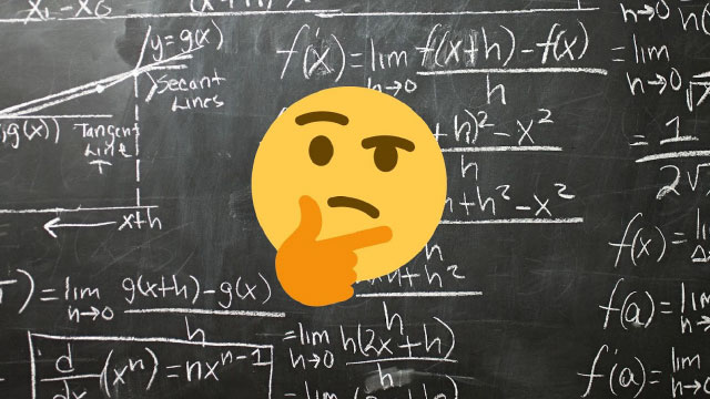 thinking emoji over math equations written on chalk board