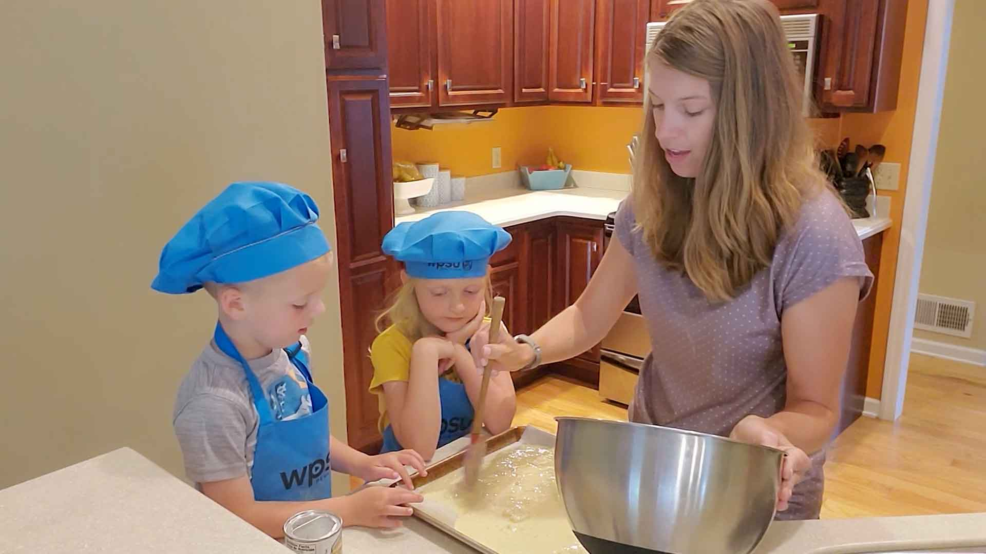 Cassie and kids in the kitchen