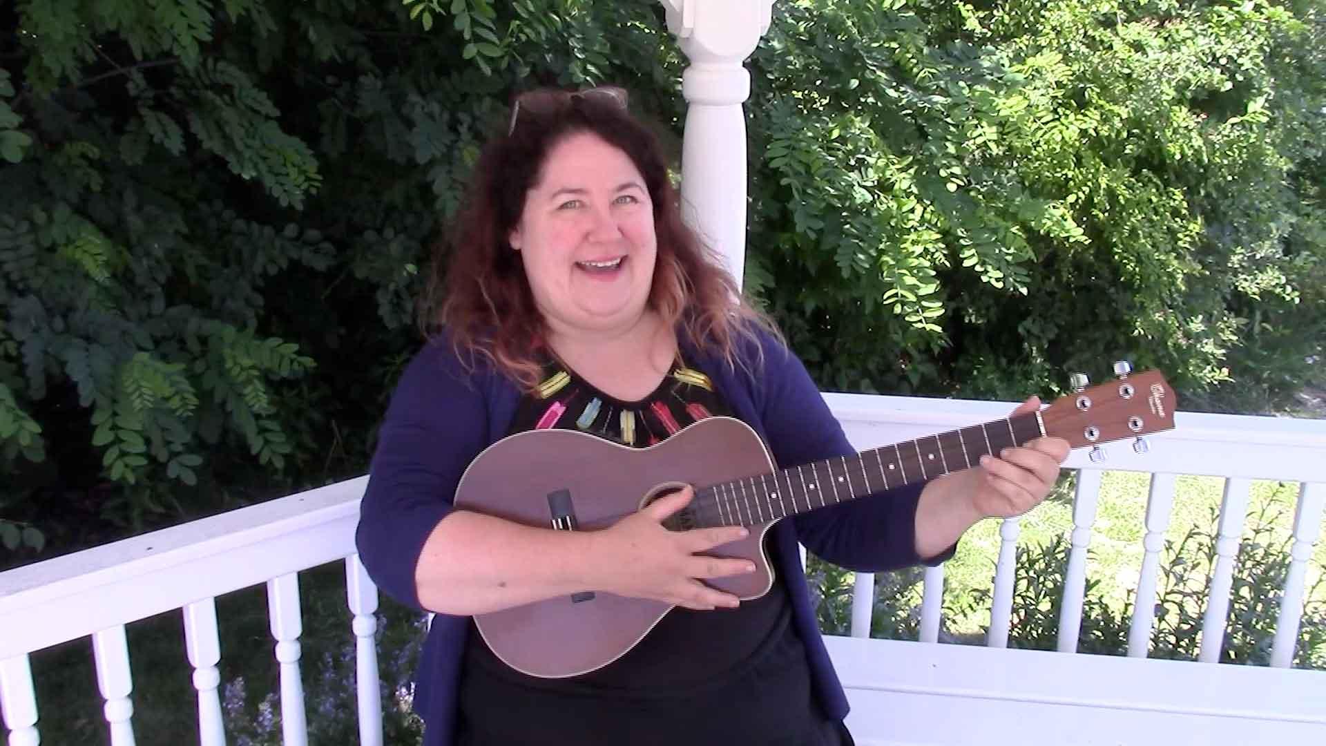 Melanie playing ukulele