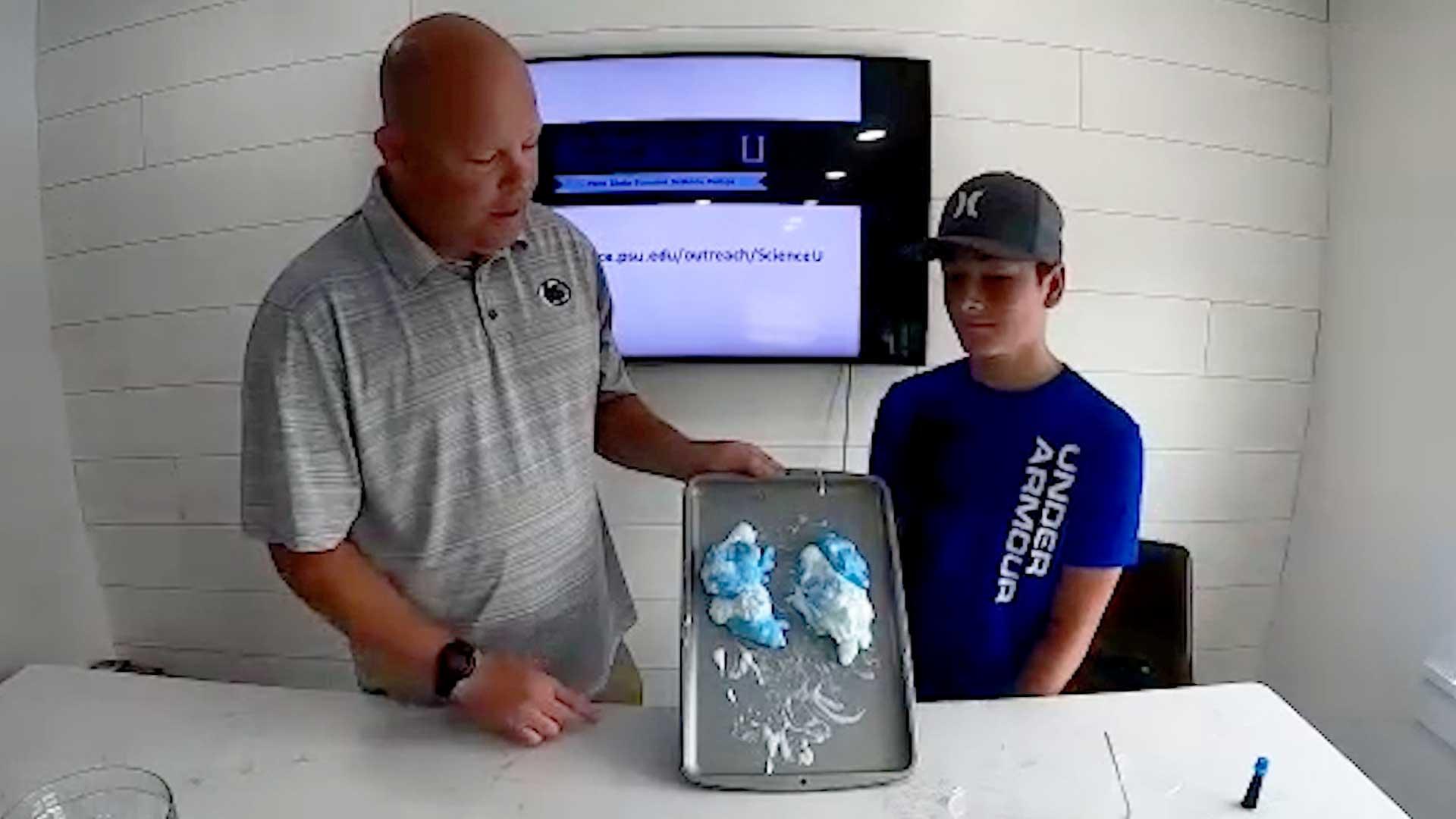 Justin Hazelton demonstrates how glaciers move